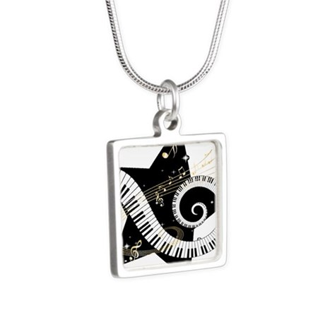 musicalstar.png Silver Square Necklace