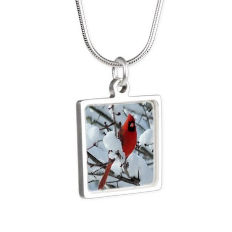 Snow Cardinal Silver Square Necklace