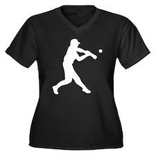 Softball Hitter Women's Plus Size V-Neck Dark T-Sh
