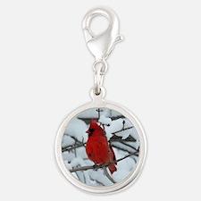 Snow Cardinal Silver Round Charm