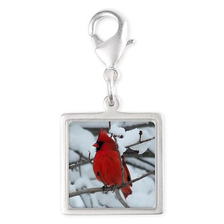 Snow Cardinal Silver Square Charm