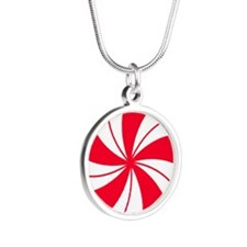 Peppermint Candy Silver Round Necklace