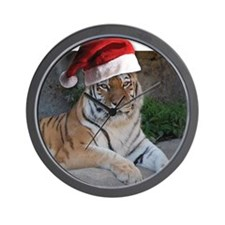 Santa Hat Bengal Tiger Wall Clock