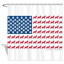 Patriotic German Shepherd Shower Curtain