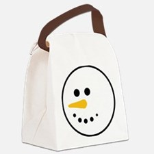 Snow Man Head Round Canvas Lunch Bag