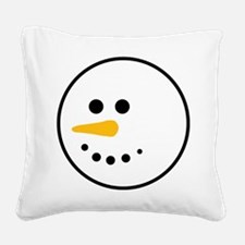 Snow Man Head Round Square Canvas Pillow