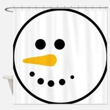 Snow Man Head Round Shower Curtain