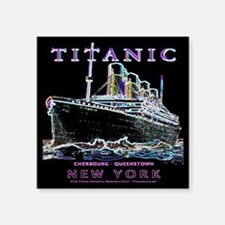 "Titanic Neon (black) Square Sticker 3"" x 3"""