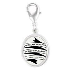 Woman Worthy of Being Pleased Silver Oval Charm
