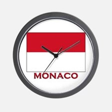 Monaco Flag Merchandise Wall Clock