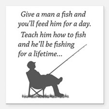 "Fishing for a Lifetime Square Car Magnet 3"" x 3"""