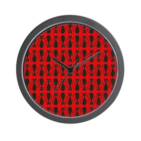 Red and black goth cat pattern wall clock by hippygiftshop for Red and black wall clock