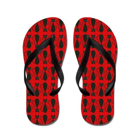 Red and Black Goth Cat Pattern Flip Flops