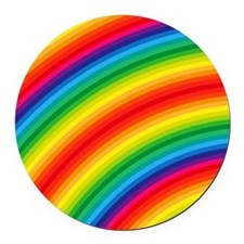 Rainbow Striped Pattern Round Car Magnet