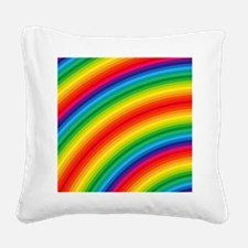 Rainbow Striped Pattern Square Canvas Pillow