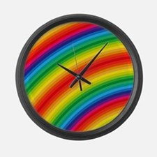 Rainbow Striped Pattern Large Wall Clock