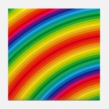 Rainbow Striped Pattern Tile Coaster