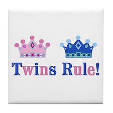 Twins Rule! (Girl & Boy) Tile Coaster