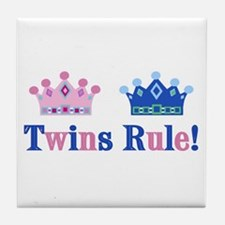 Twins Rule! (Girl & Boy) Tile Coaster