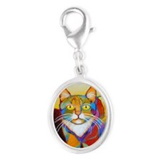 Cat-of-Many-Colors Silver Oval Charm