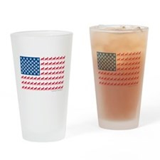 German Shepherd USA American FLAG - Drinking Glass