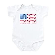 German Shepherd USA American FLAG - Infant Bodysui