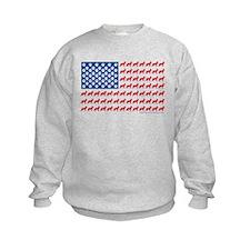 German Shepherd USA American FLAG - Sweatshirt