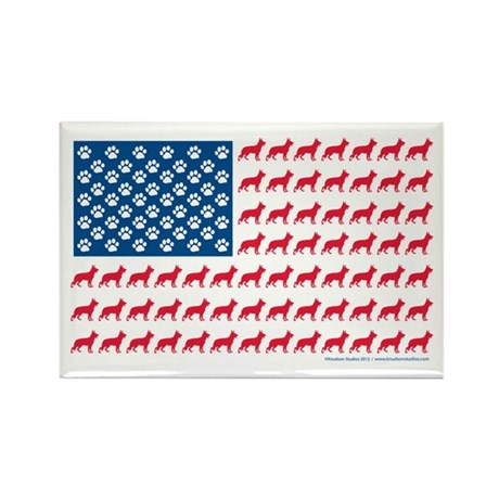 German Shepherd USA American FLAG - Rectangle Magn