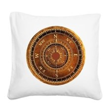 Compass Rose in Brown Square Canvas Pillow