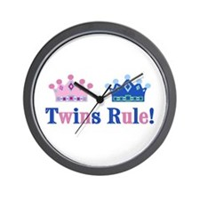 Twins Rule! (Girl & Boy) Wall Clock