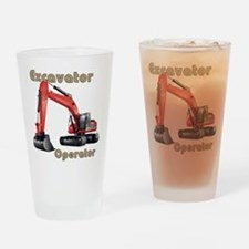 Red Excavator Drinking Glass