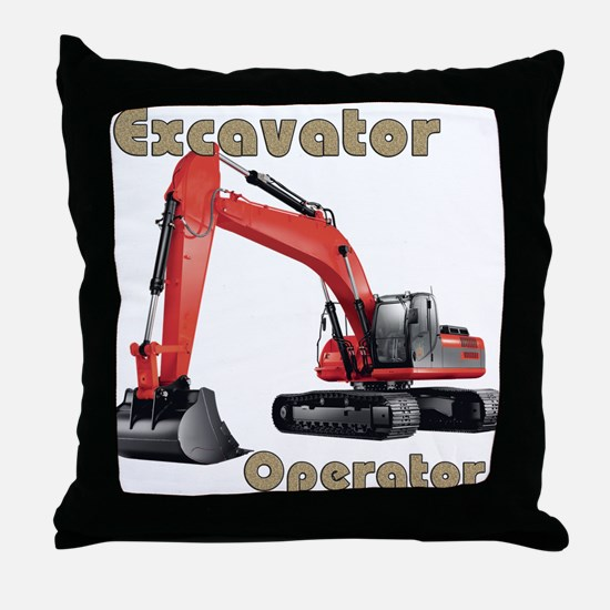 Red Excavator Throw Pillow
