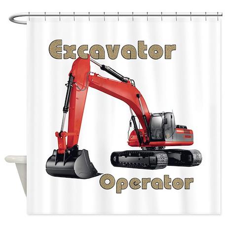 Red Excavator Shower Curtain