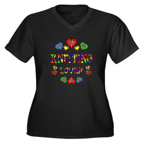 Knitting Lover Women's Plus Size V-Neck Dark T-Shi