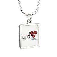 I Heart Neuro - Grey's Anatom Silver Square Neckla