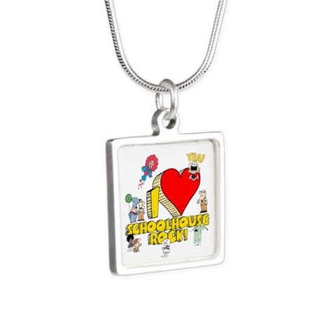 I Heart Schoolhouse Rock! Silver Square Necklace