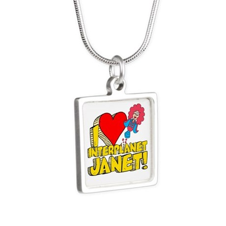 I Heart Interplanet Janet! Silver Square Necklace