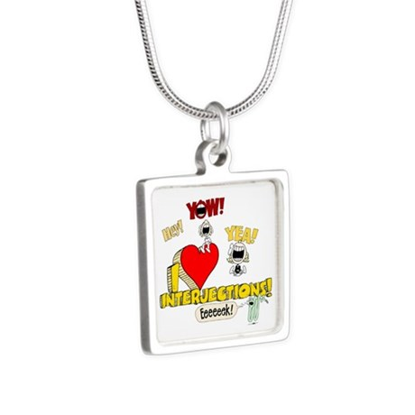I Heart Interjections Silver Square Necklace