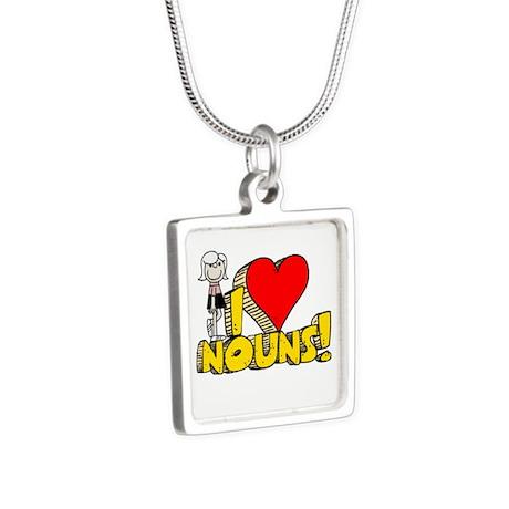 I Heart Nouns Silver Square Necklace