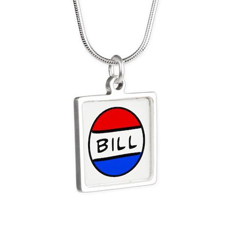 Bill Button Silver Square Necklace