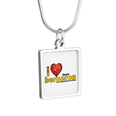 I Heart Tom Bergeron Silver Square Necklace