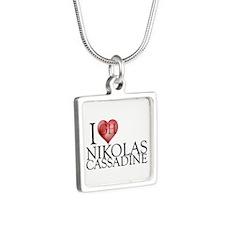 I Heart Nikolas Cassadine Silver Square Necklace