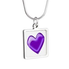 Purple Jelly Heart Silver Square Necklace
