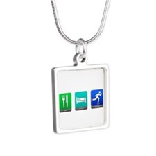 Eat, Sleep, Blade Silver Square Necklace