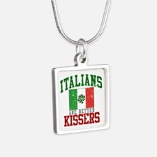 Italians Are Better Kissers Silver Square Necklace