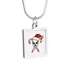 Christmas Skull Silver Square Necklace
