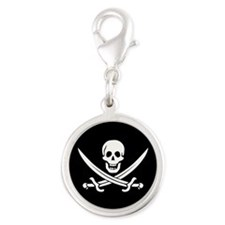 Calico Jack Pirate Silver Round Charm