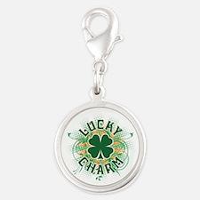 Lucky Charm [swirls] Silver Round Charm