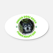 Adopt A Senior Dog Oval Car Magnet
