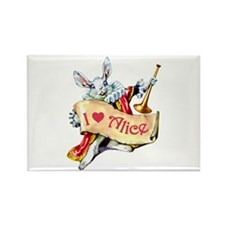 Alice's White Rabbit Rectangle Magnet